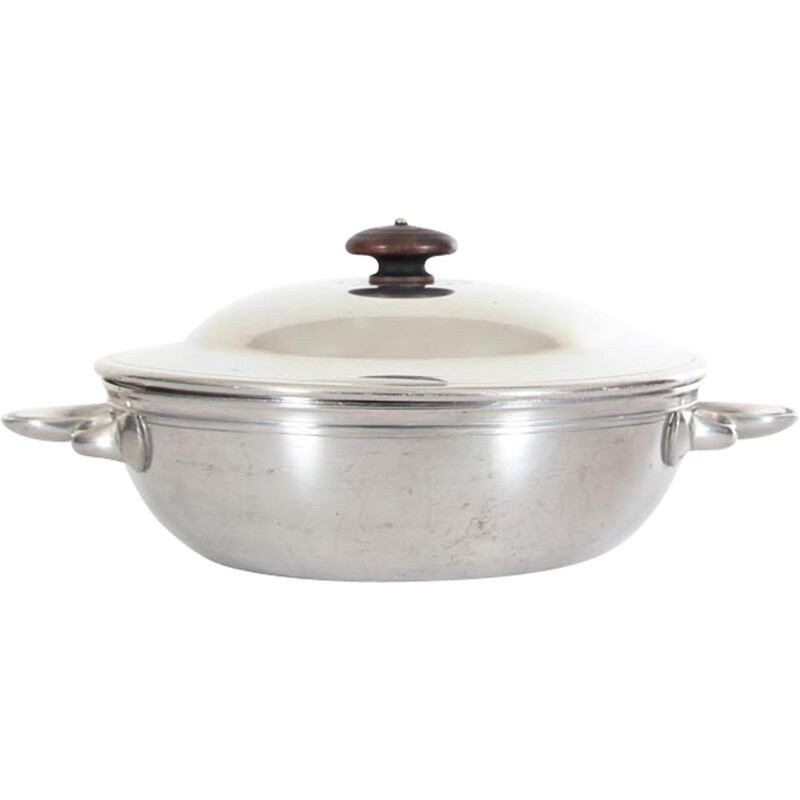 Pot with lid in silver Disco metal by Just Andersen - 1930s