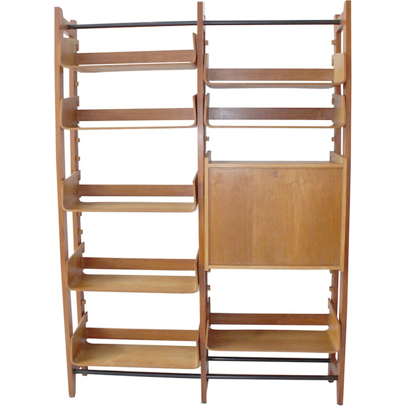 Vintage Italian library dressed with curved birch shelves - 1950s