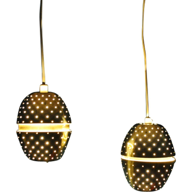 Pair of perforated brass pendants by Hans-Agne Jakobsson - 1960s