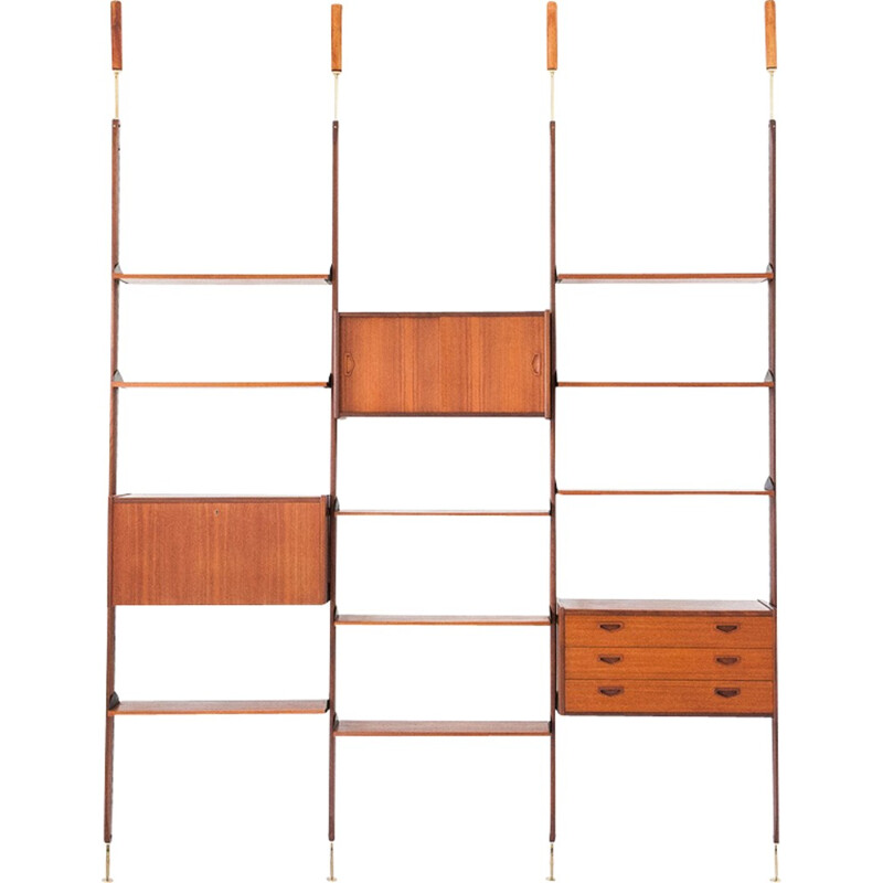 Italian Teak and Brass Floor Ceiling Wall Unit - 1950s