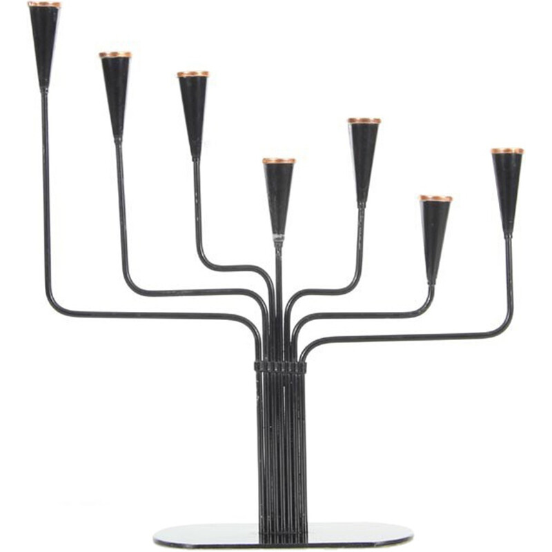 Small black Ystad Metall candelabra - 1960s