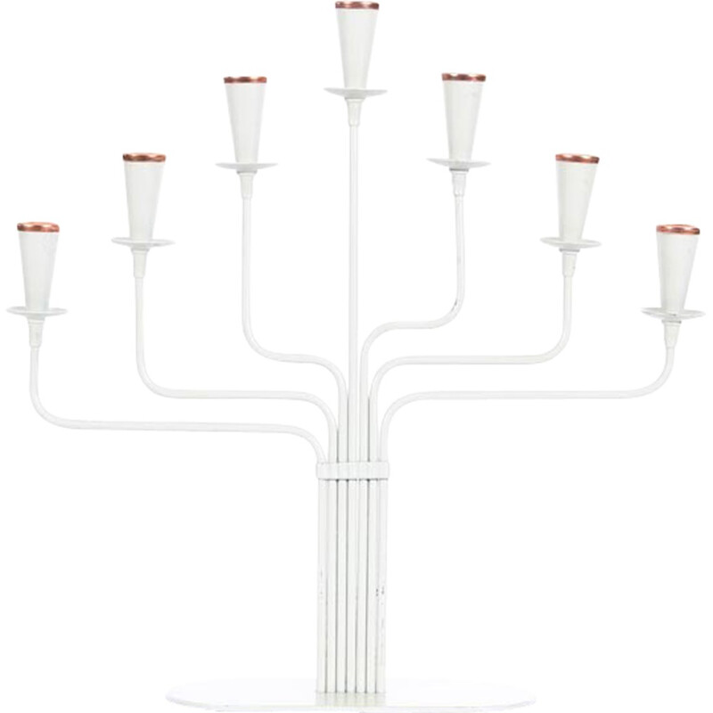 Small white Ystad Metall candelabra by Gunnar Ander - 1960s