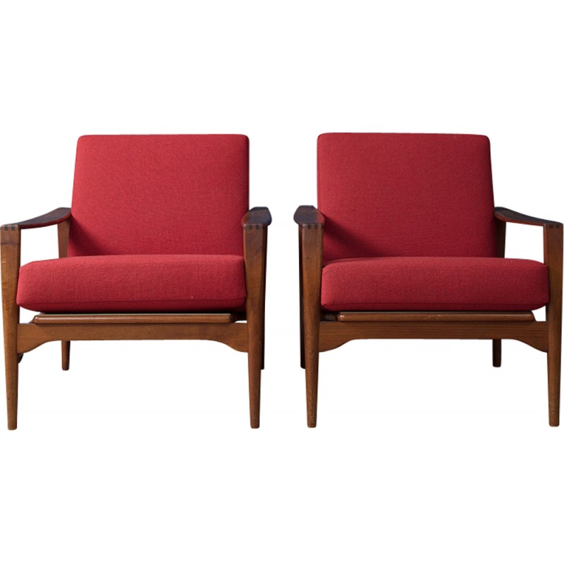 """Set of 2 Lounge Armchairs """"No.3"""" by Illum Wikkelso for N.Eilersen - 1960s"""