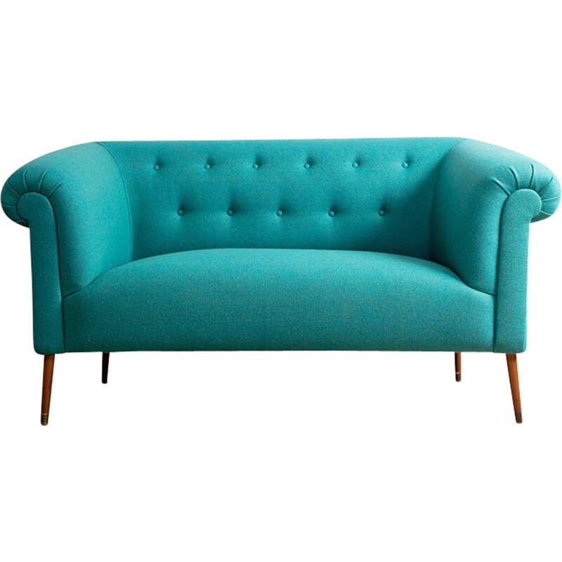 Green Vintage wool and beech Sofa - 1930s