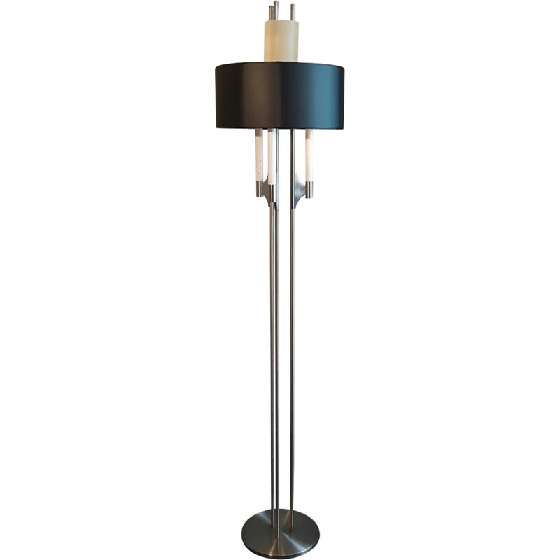 Italian floor lamp made of chromed metal and double lampshade - 1970s