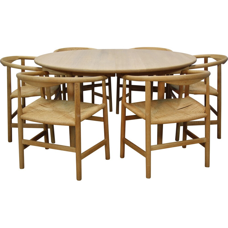 Danish mid-century dining set in soaped oak by Hans Wegner for Carl Hansen - 1960s