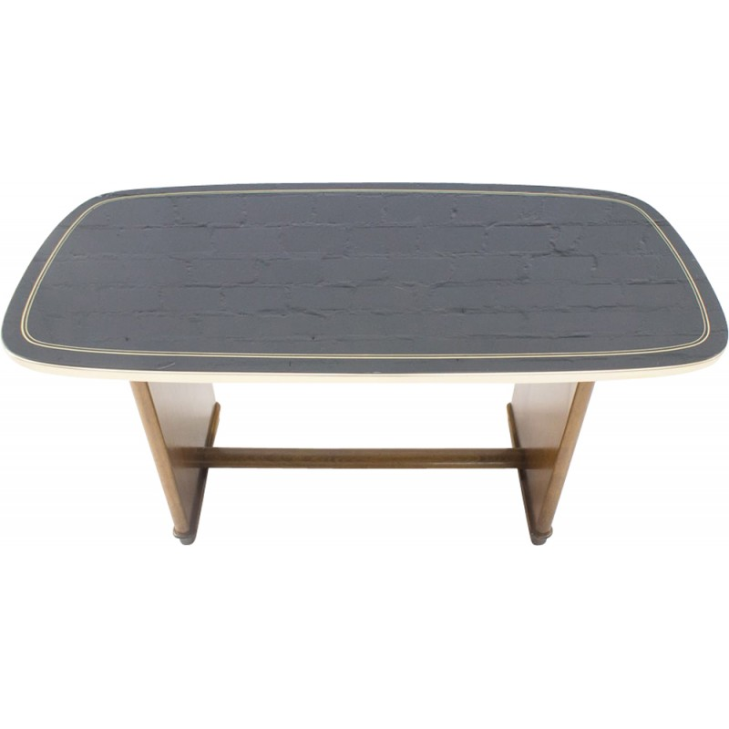 Vintage German Coffee Table With Black Glass Top 1950s Design Market