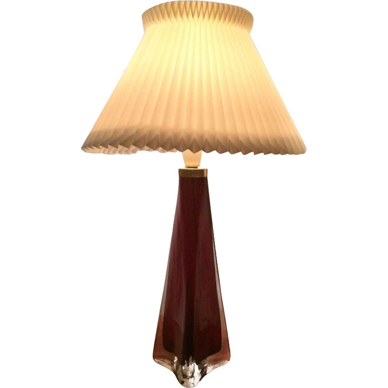 Large triangular table lamp in red and clear glass by Carl Fagerlund for Orrefors - 1960s