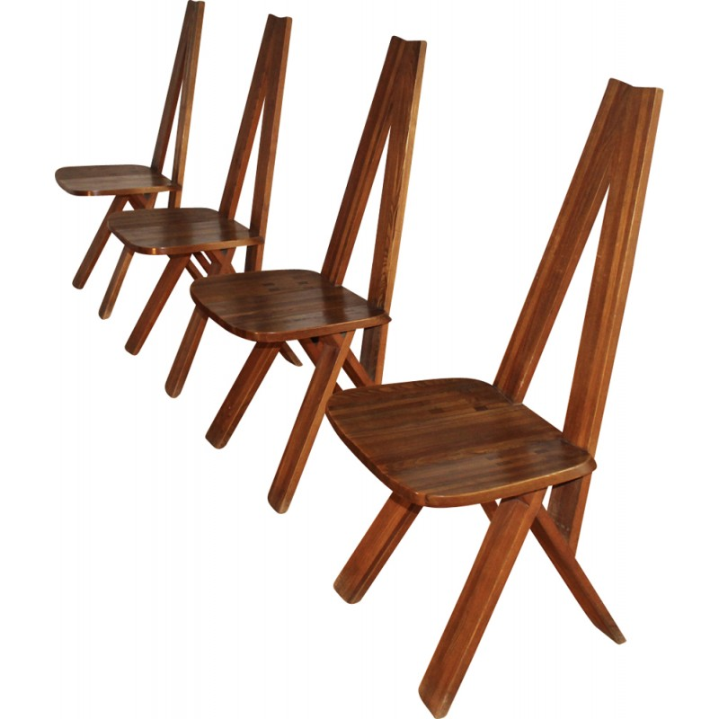 Set of 4 elm chairs, model S45 by Pierre Chapo - 1970s
