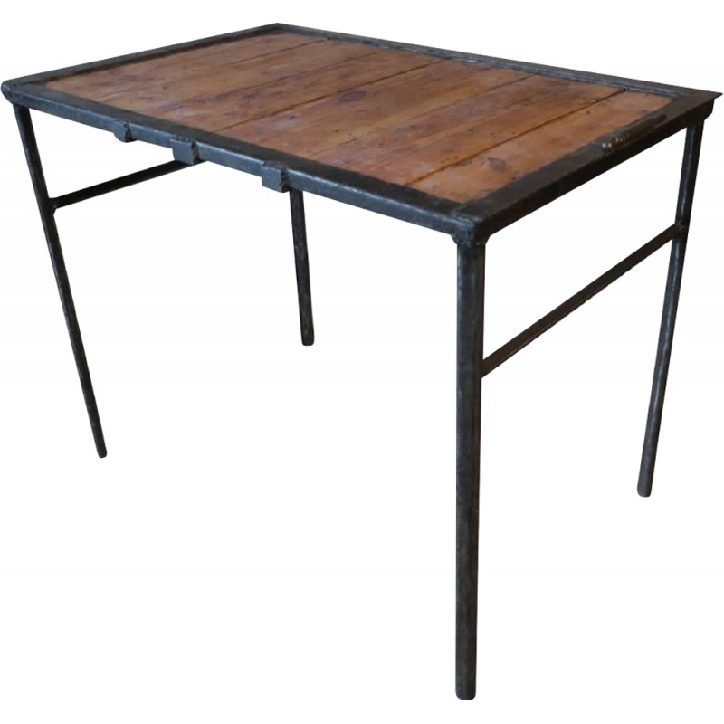 Vintage industrial table in iron and wood - 1960s