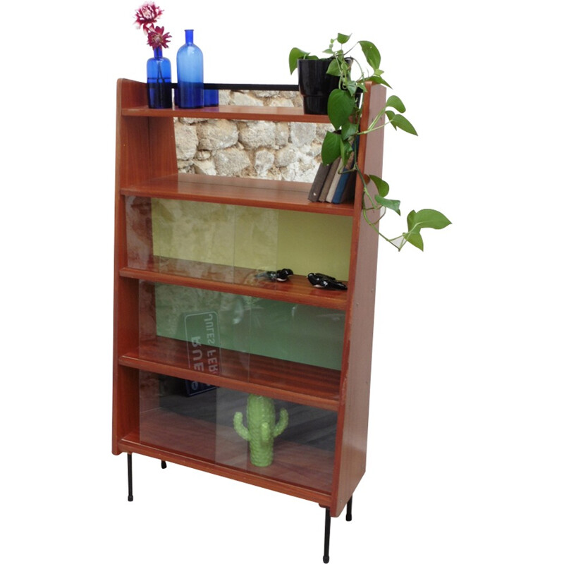 Vintage bookcase made of glass and wood by Pierre Guariche - 1950s