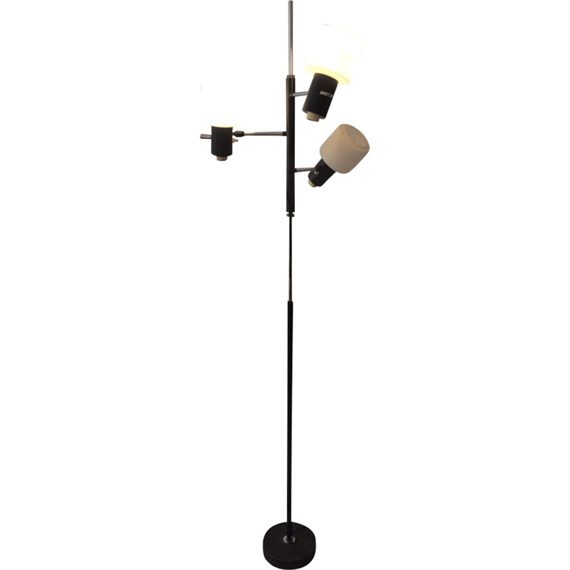 Lunel floor lamp made of black lacquered metal - 1950s