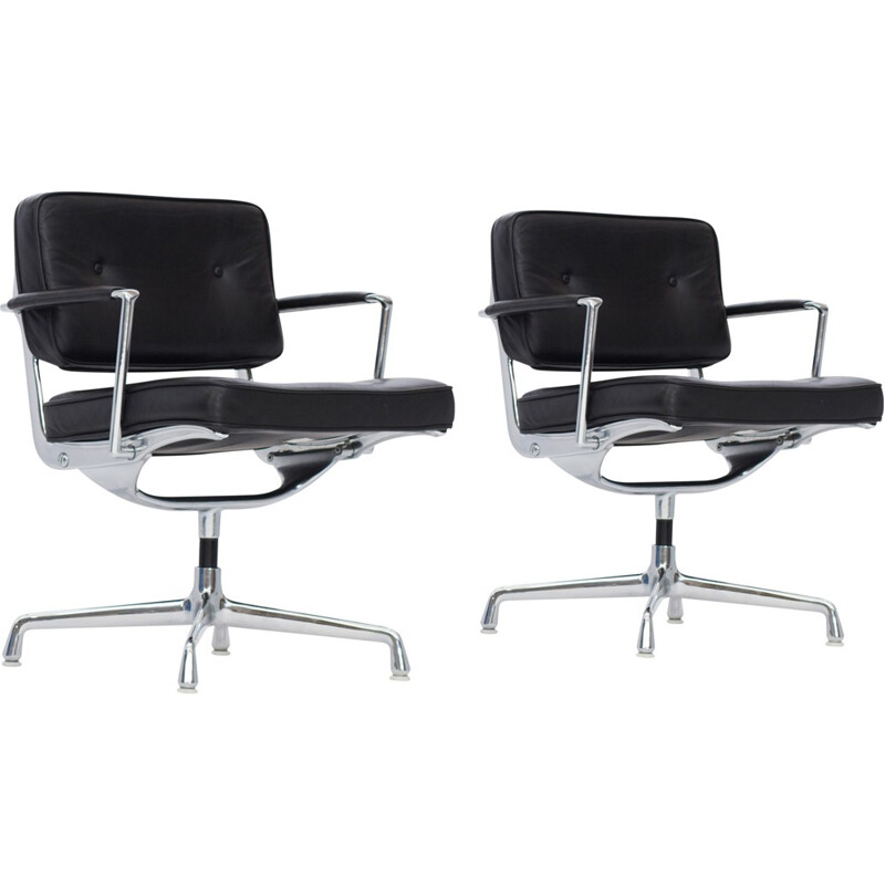 "Pair of ""Intermediate"" Desk Chair"" in black leather by Eames - 1970s"