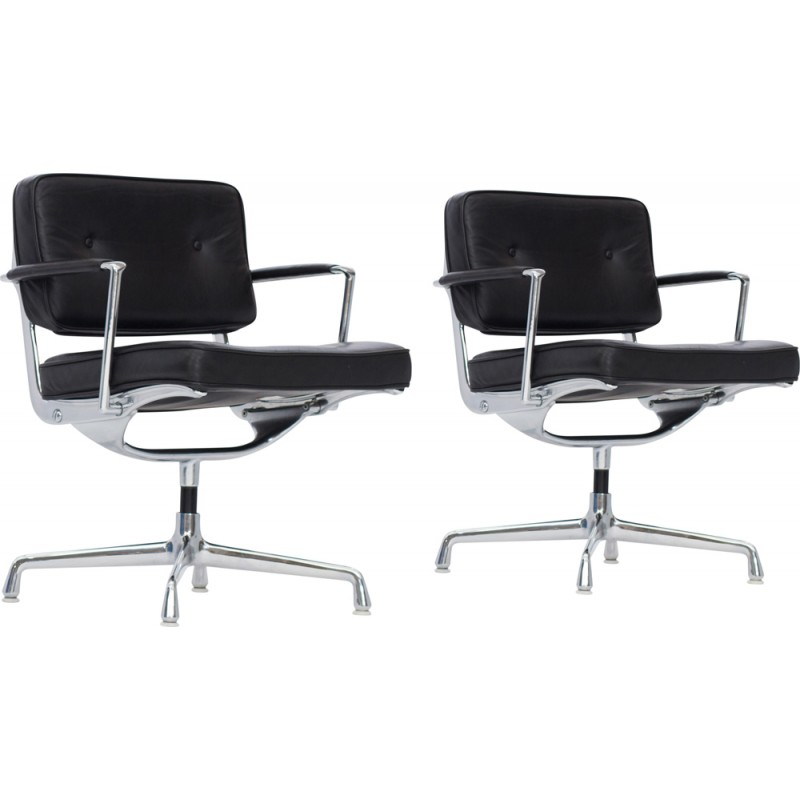 Marvelous Pair Of Intermediate Desk Chair In Black Leather By Eames 1970S Ncnpc Chair Design For Home Ncnpcorg