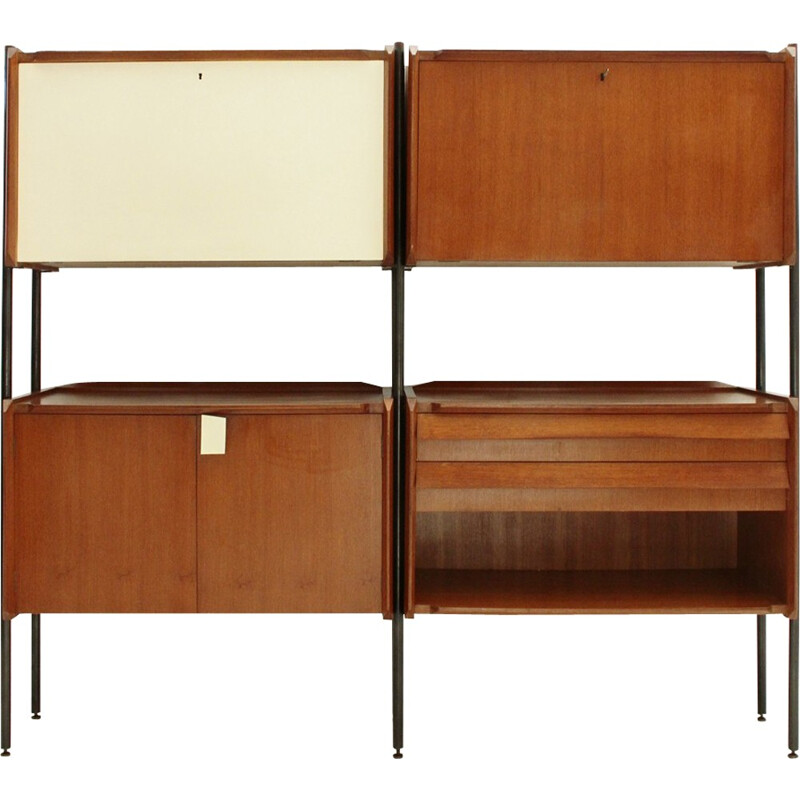 Vintage Italian wall unit system with uprights - 1950s