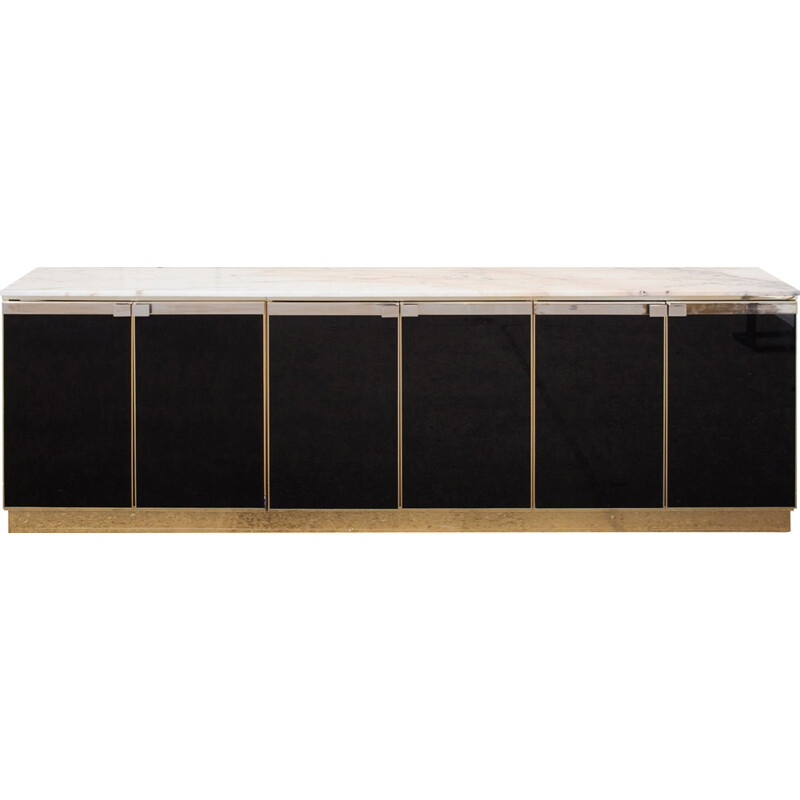 Brass black lacquered marble top credenza by Maison Jansen - 1970s