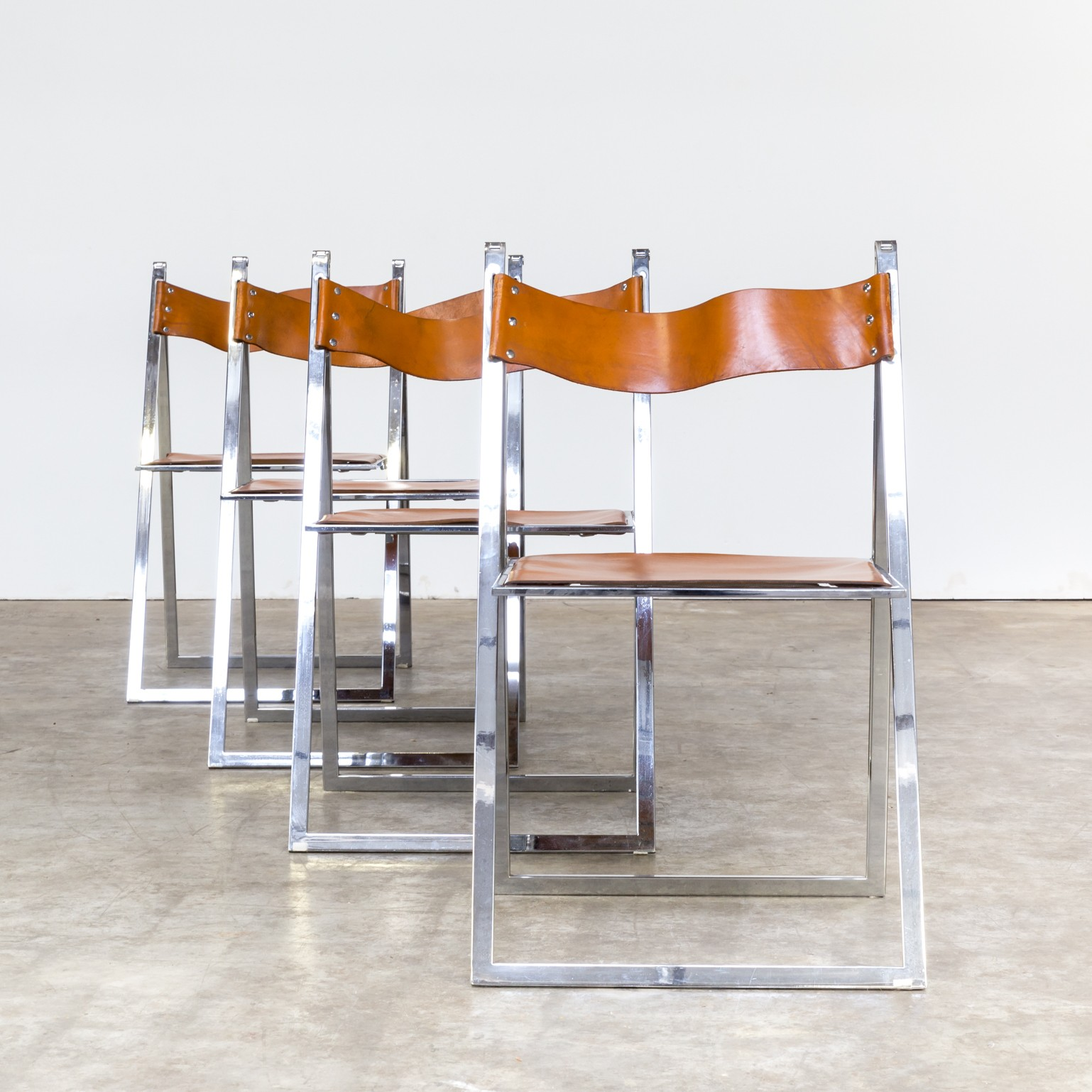 Set of 4 folding chairs elios by Fontoni & Geraci 1960s