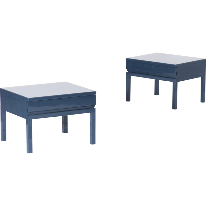 Pair of Petrol Blue Lacquered Bed Side Tables, Veranneman - 1980s