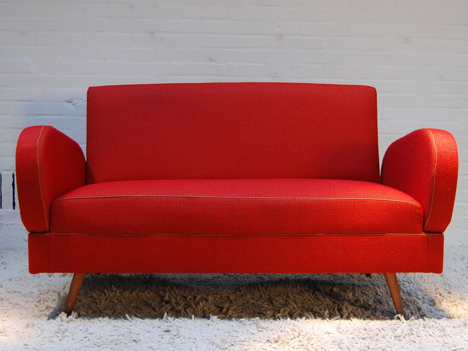 Mid century modern dark red sofa - 1960s