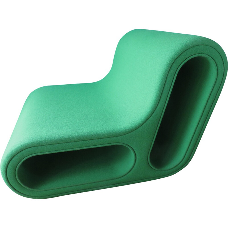 """Other one"" lounge chair in green wool by Leif Jorgensen - 2000s"