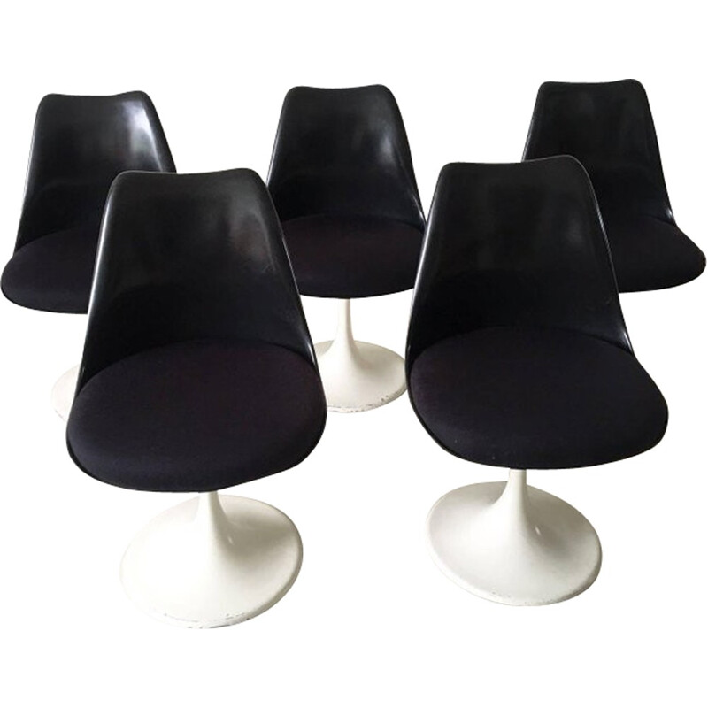 "Set of 5 black ""Tulip"" chairs by Eero Saarinen for Pastoe - 1960s"