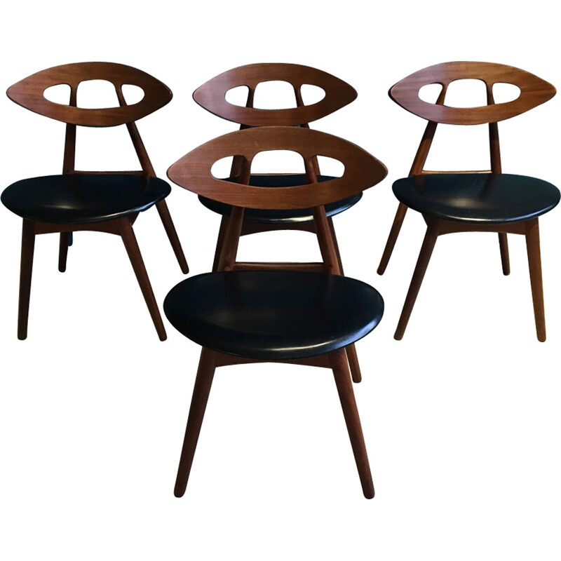 Set of 4 Eye Chairs by Ejvind A.Johansson for Ivan Gern - 1961