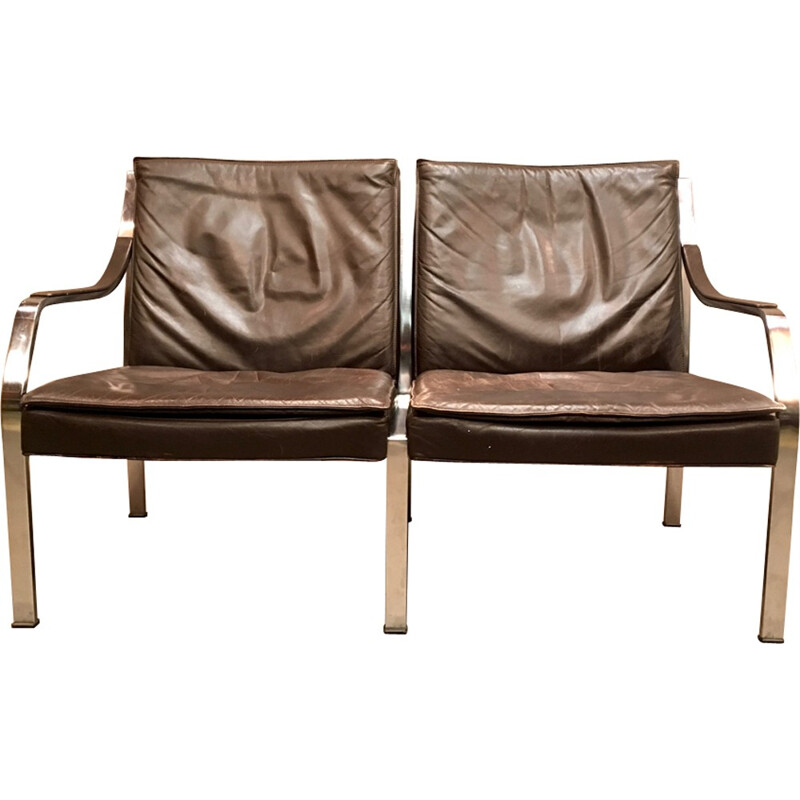Vintage leather sofa by Walter knoll - 1960s