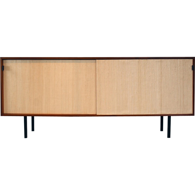 Sideboard of teak and rafia by F. Knoll for Knoll International - 1960s