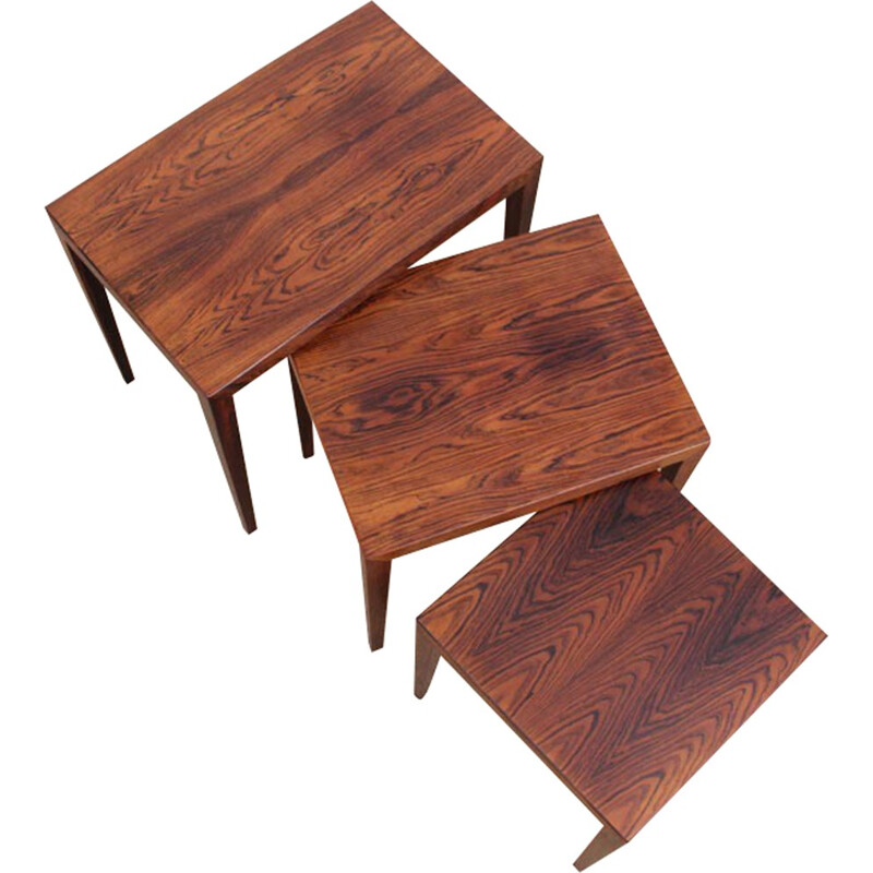 Set of 3 nesting tables in Rio rosewood by Severin Hansen - 1960s