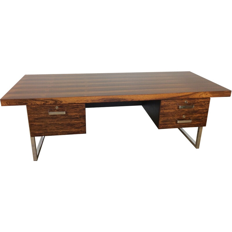 Vintage rosewood and chrome executive desk by Gordon Russell - 1960s