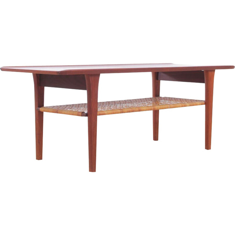 Scandinavian teak coffee table with magazine rack - 1960s