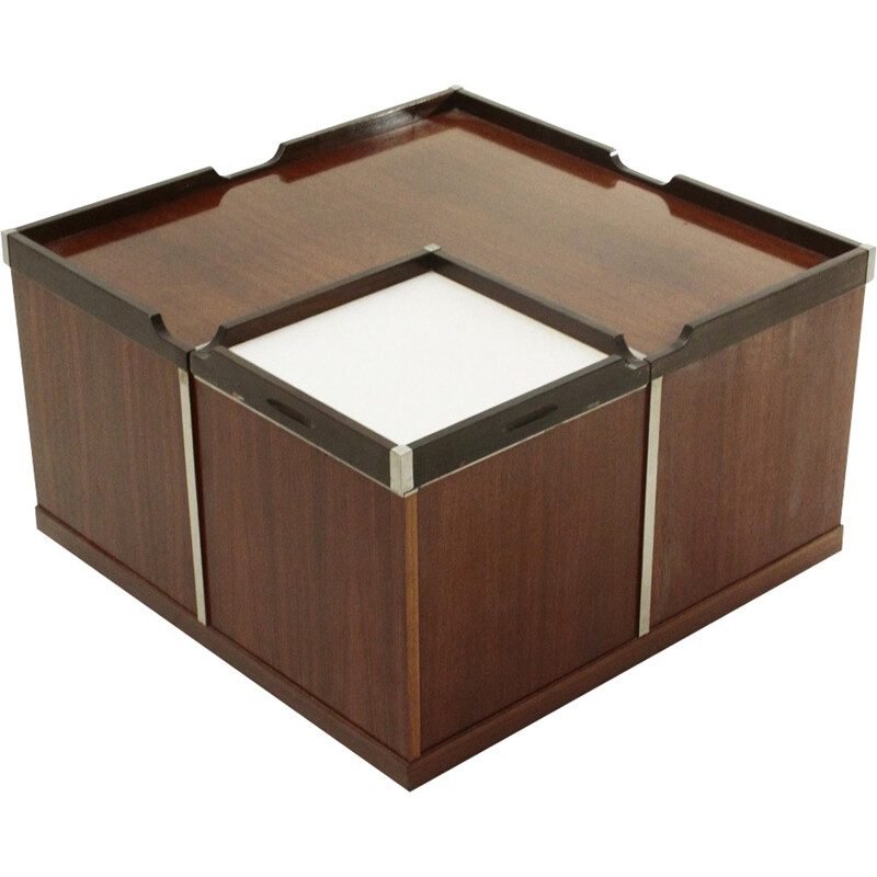 Square coffee table with bar by Fiam - 1970s