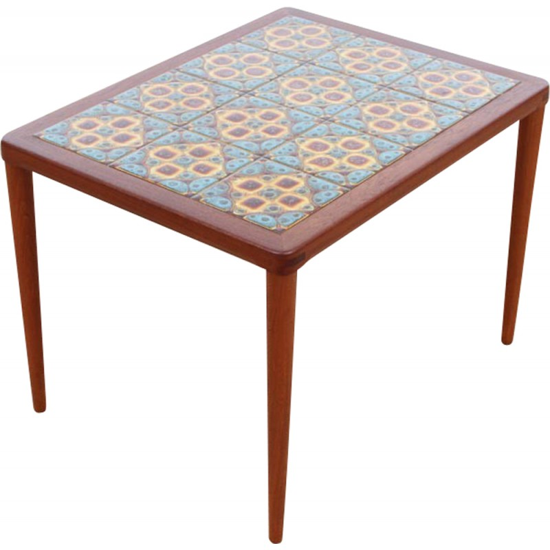 Scandinavian coffee table in teak and ceramic by Henry Walter Klein - 1960s