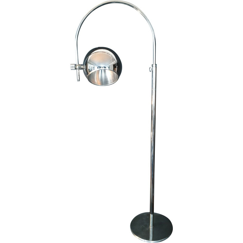 Eye Ball Floor lamp in Aluminum chrome and Plexiglass - 1960s