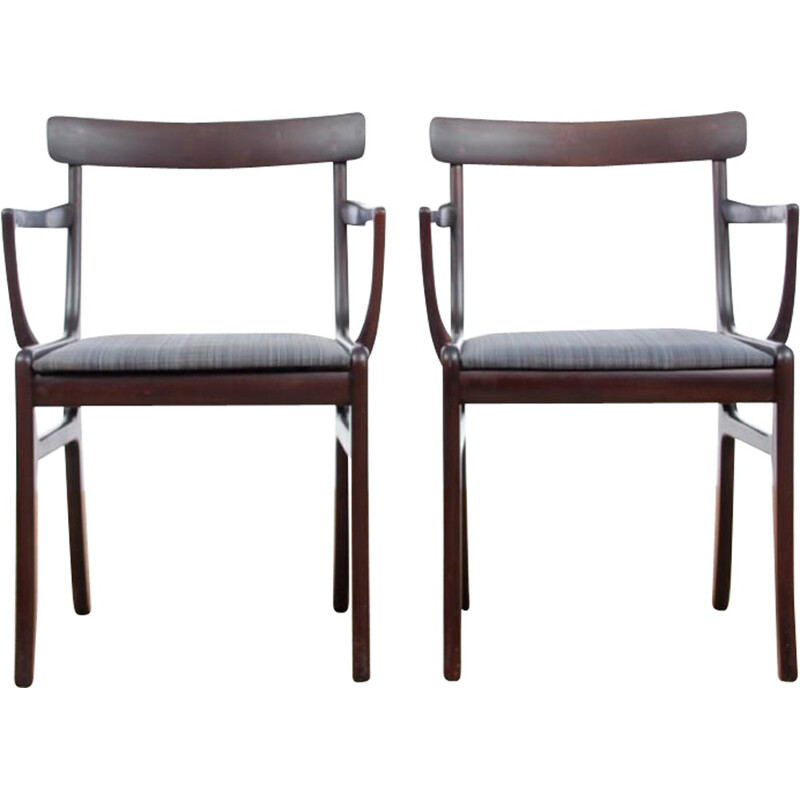 Pair of Scandinavian mahogany armchairs model Rungstedlund by Ole Wansher pour P. Jeppesen - 1960s