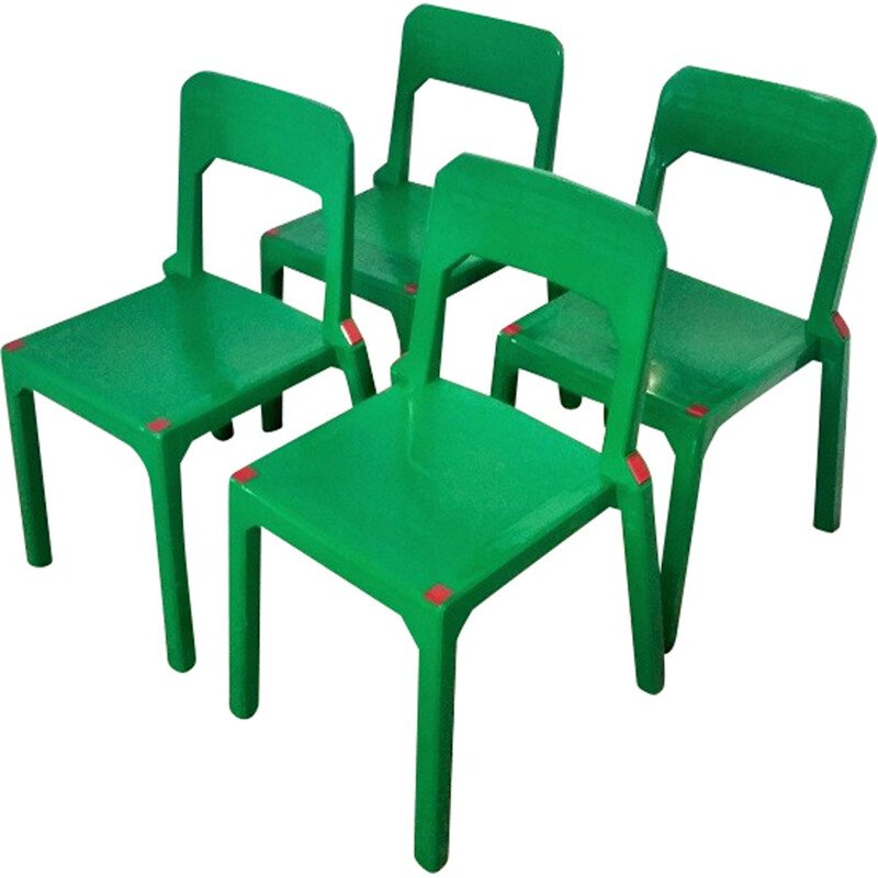 Set of 4 Green Plastic Chairs by Massonnet for Stamp - 1990