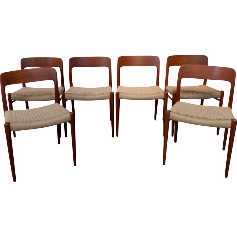 "Set of 6 chairs by Niels Moller model ""75"" - 1950s"