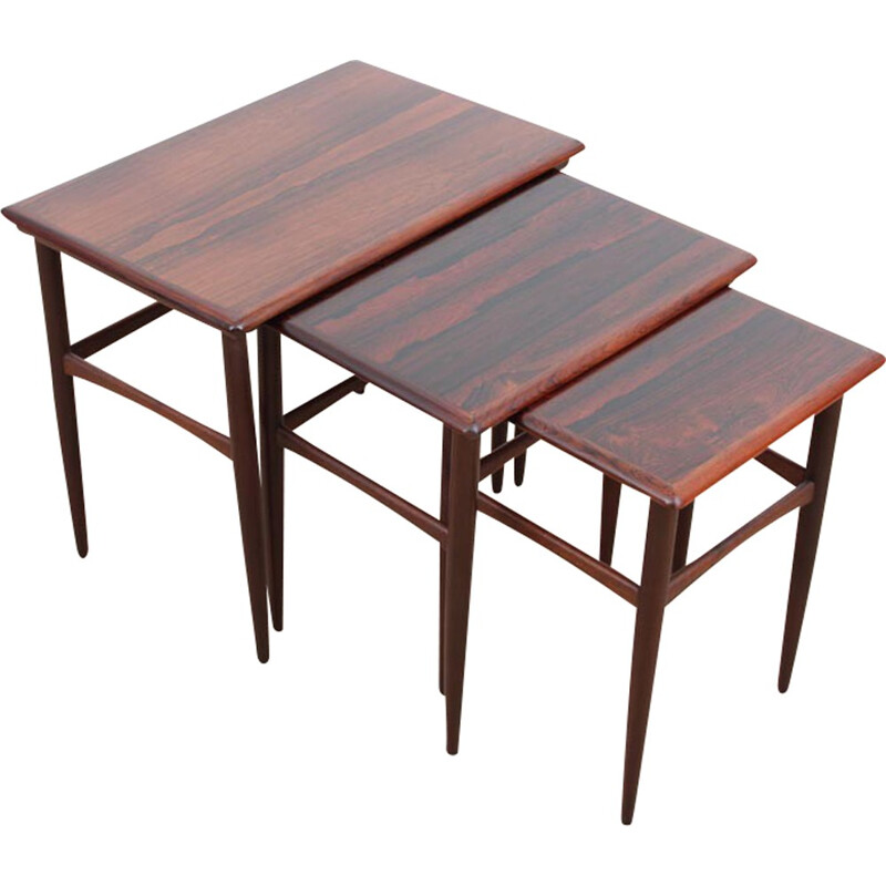 Set of 3 Scandinavian nesting tables in Rio rosewood - 1960s