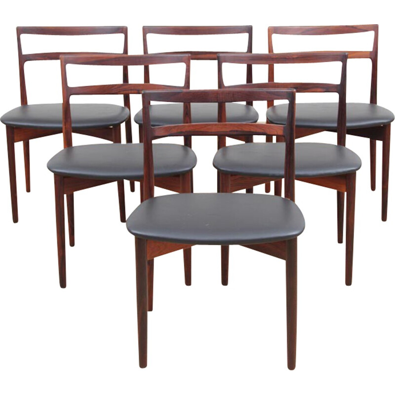 Suite of 6 scandinavian chairs in Rio rosewood, model 61 by Harry Østergaard - 1960s