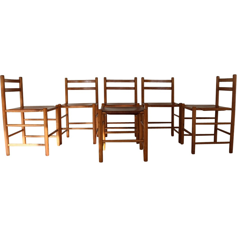 Lot of 5 chairs and 1 stool by Van Apeldoorn for Houtwerk - 1970s