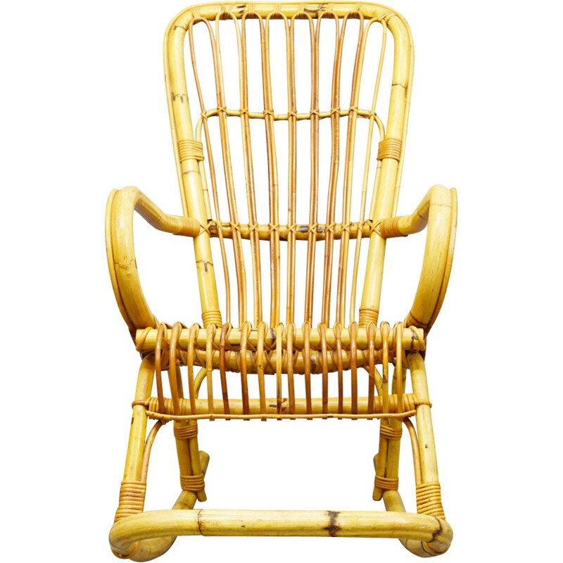 Vintage Mid-Century Bamboo Rocking Chair - 1970s