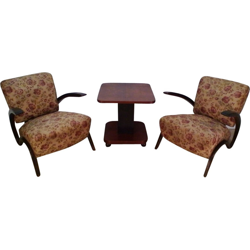 Pair of armchairs H-275 and coffee table by Jindrich Halabala - 1930