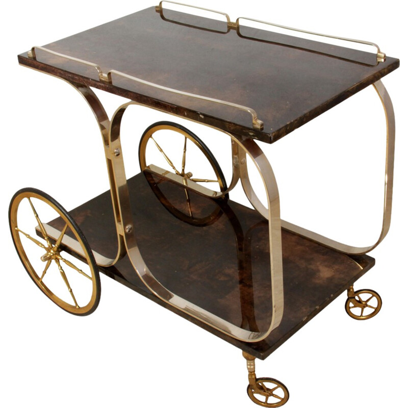 Italian Brass and Goatskin Trolley by Aldo Tura - 1970s