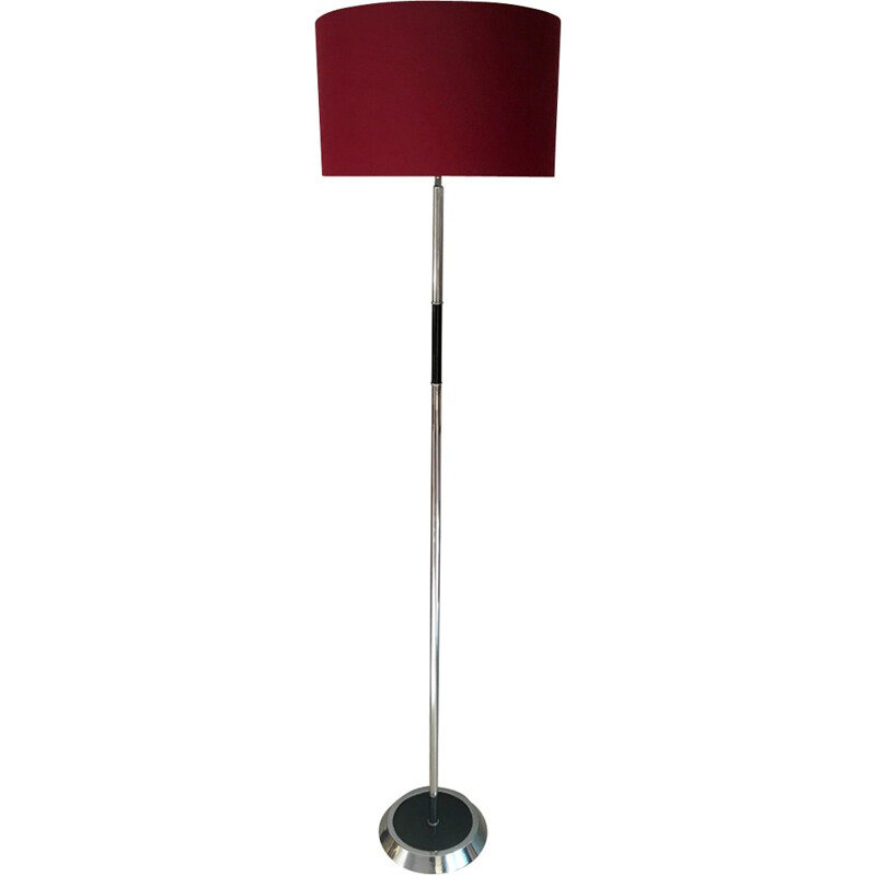 Vintage floor lamp in chromed metal with a burgundy lampshade - 1960s