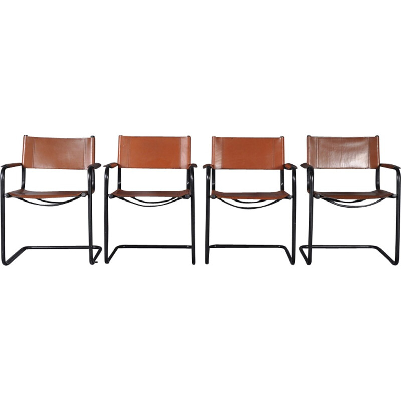 Set of 4 chairs in steel - 1970s