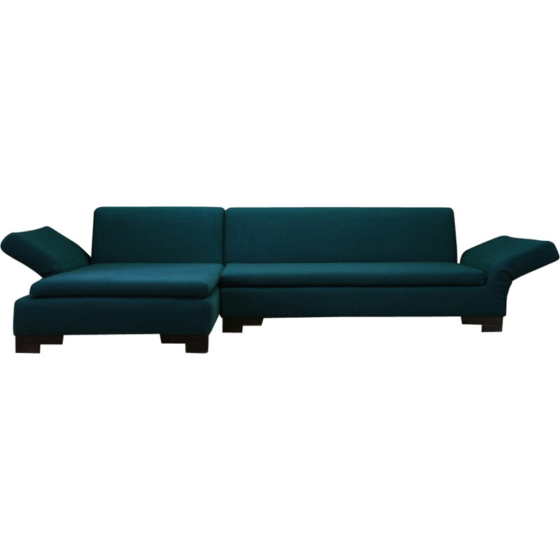 Vintage corner sofa in green fabric produced by Bullfrog - 1980s