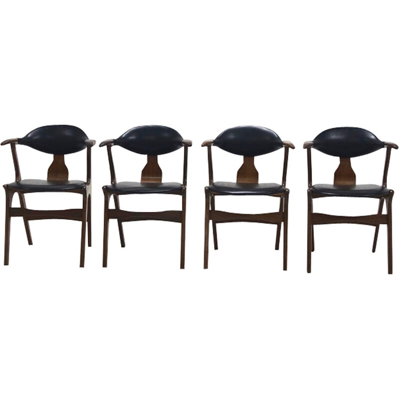 Set of 4 Cow Horn Chairs by Louis van Teeffelen for AWA - 1960s