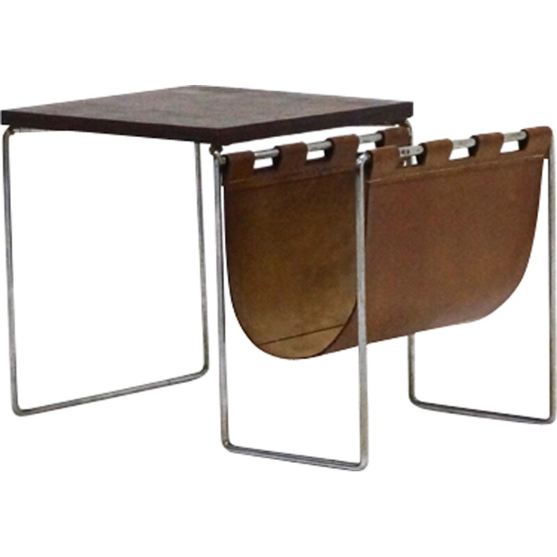 Side table with Magazine Rack with Leather & Chrome - 1970s