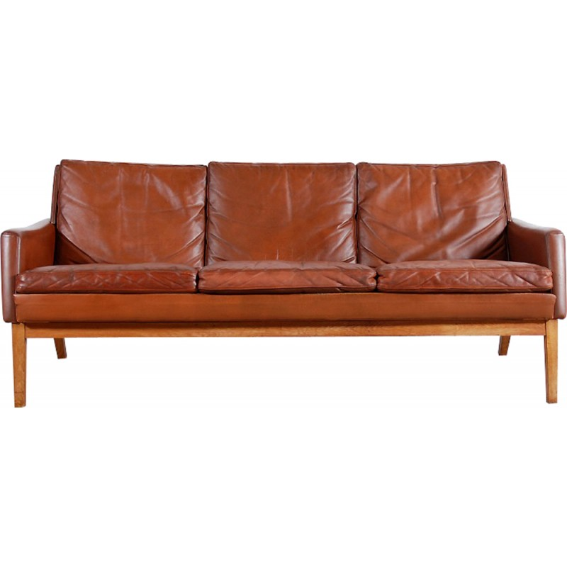 Vintage Scandinavian Sofa In Brown Leather 1960s