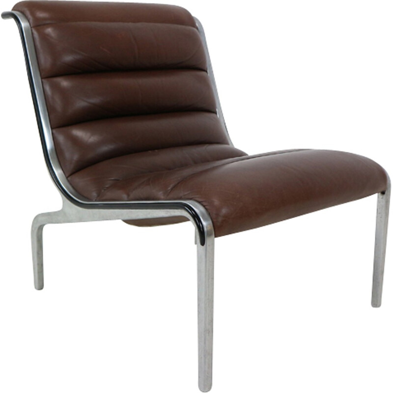 Aluminium Frame and Leather Seating Lounge Chair - 1970s